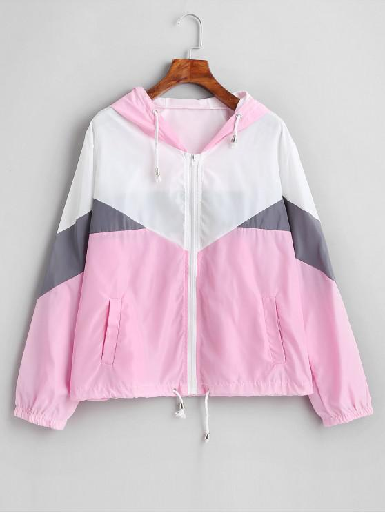 best Zip Up Color Block Windbreaker Jacket - MULTI-B M