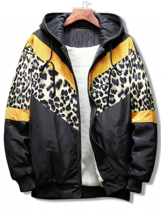 womens Leopard Color Block Graphic Hooded Jacket - YELLOW XL