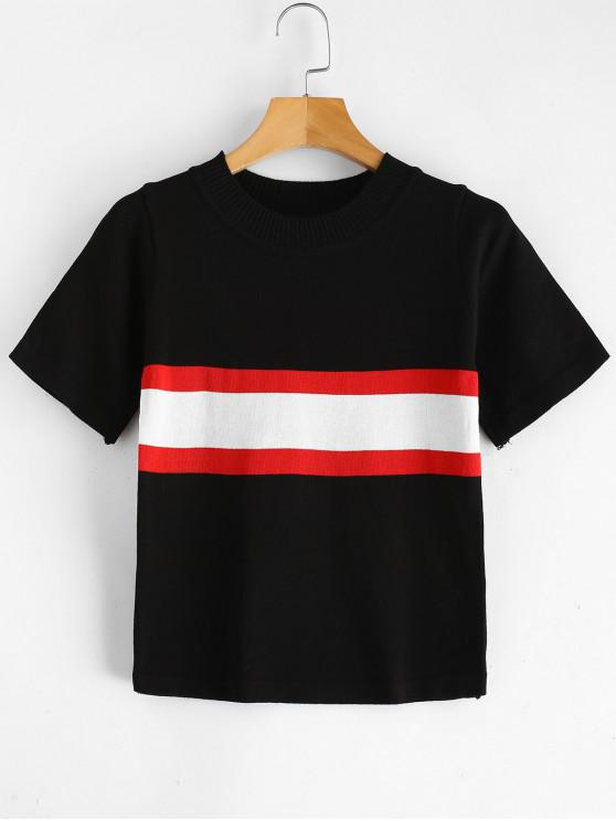 outfit Striped Knit Tee - BLACK ONE SIZE