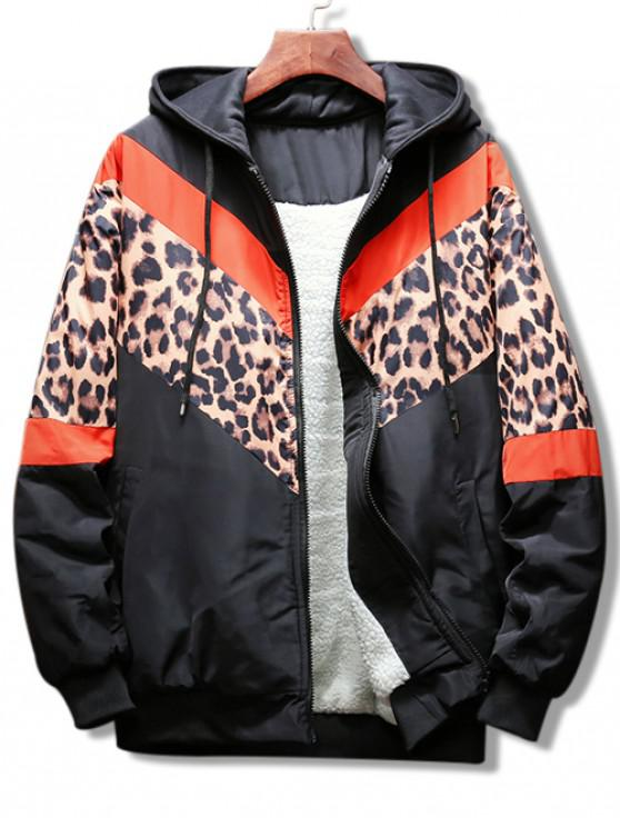 fashion Leopard Color Block Graphic Hooded Jacket - RED S