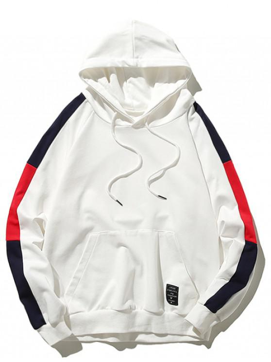 ladies Pouch Pocket Contrast Color Drawstring Hoodie - WHITE M