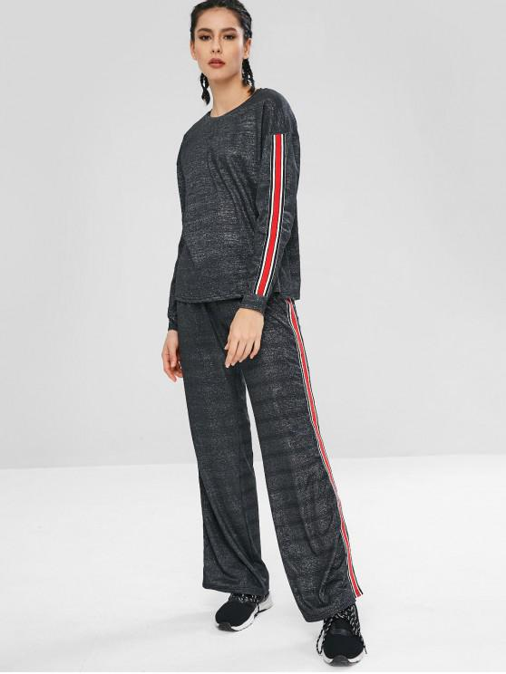 fashion ZAFUL Striped Patched Sparkly Loose Pants Set - MULTI M
