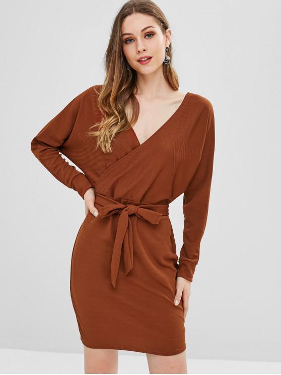fancy Long Dolman Sleeve Ribbed Surplice Dress - BROWN S