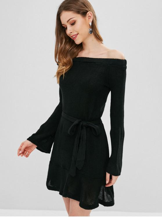 womens Belted Off Shoulder Sweater Dress - BLACK M