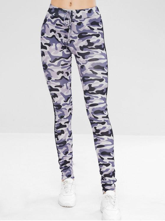 Leggings Di Camouflage A Righe Laterali Con Coulisse - ACU Camouflage M