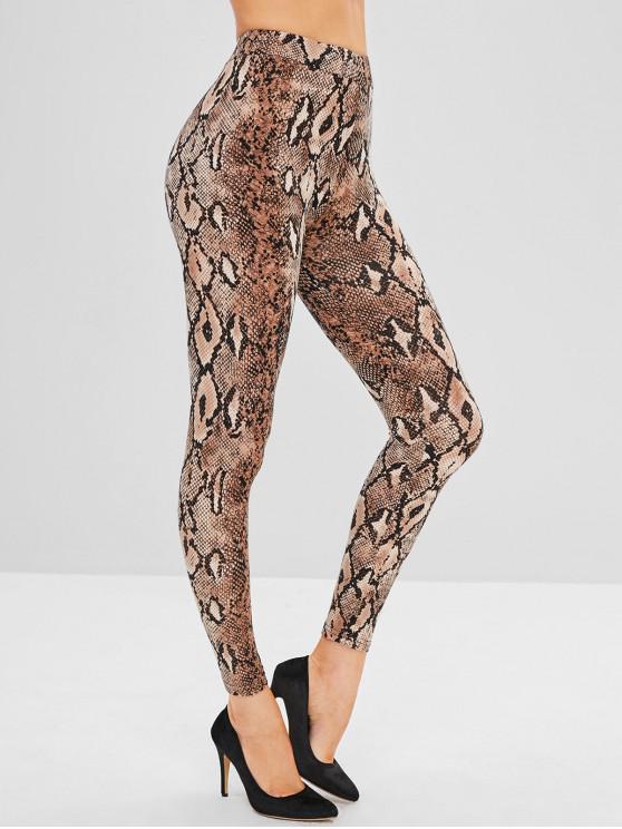 trendy High Waist Snakeskin Print Leggings - MULTI XL