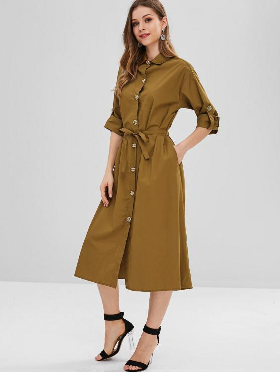 4ffdab0a7429 25% OFF  2019 Belted Button Up Midi Shift Shirt Dress In TIGER ...