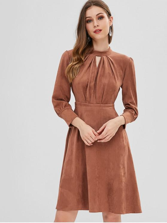 d6684ef33f 32% OFF  2019 Pleated Keyhole Suede Dress In TIGER ORANGE S