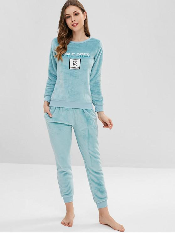 fashion Embroidered Fleece Pajama Set - LIGHT CYAN M