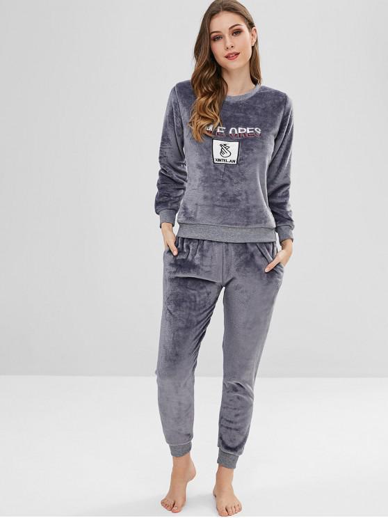 lady Embroidered Fleece Pajama Set - BLUE GRAY M