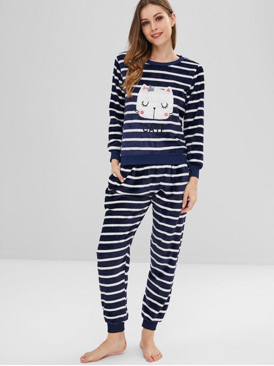 goditi il miglior prezzo nuovi speciali fashion style Set Di Pigiama In Lana A Righe Con Ricamo Gatto MIDNIGHT BLUE