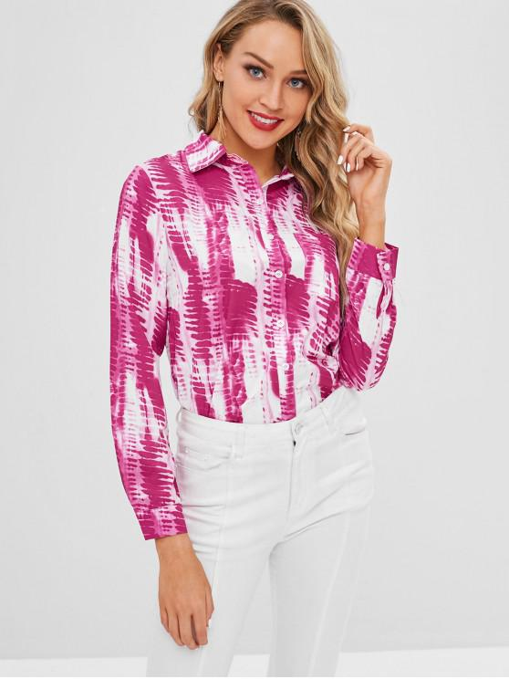 outfit Patch Pocket Tie Dye Shirt - MAGENTA S
