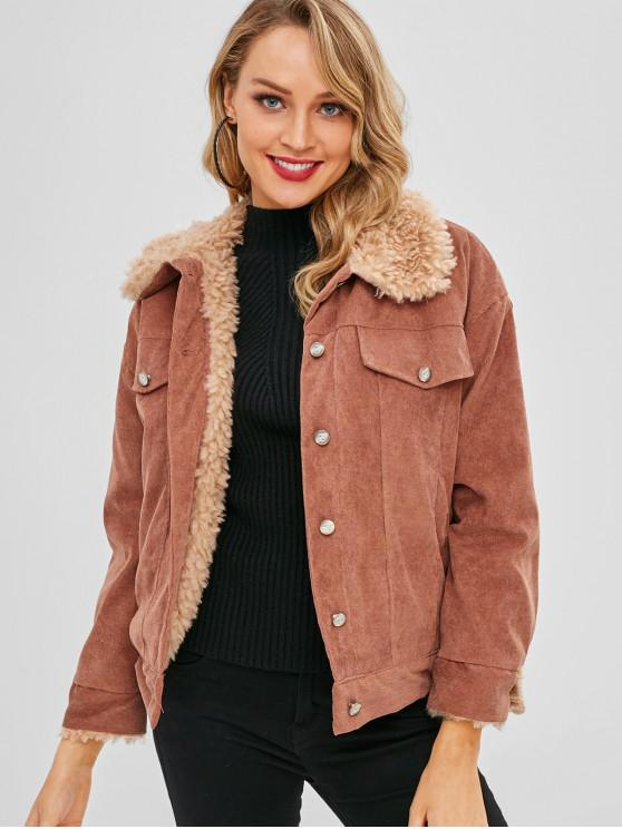 new Faux Lambswool Lined Corduroy Jacket - RUST L