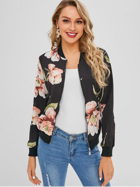 womens Floral Zip Up Light Bomber Jacket - BLACK S