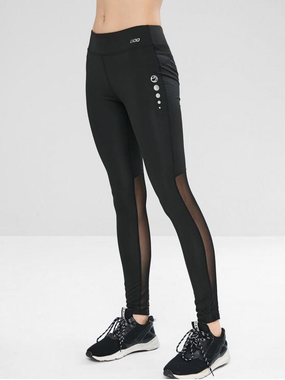 Leggings Sportivi Di Yoga Con Pannello In Tulle - Nero L