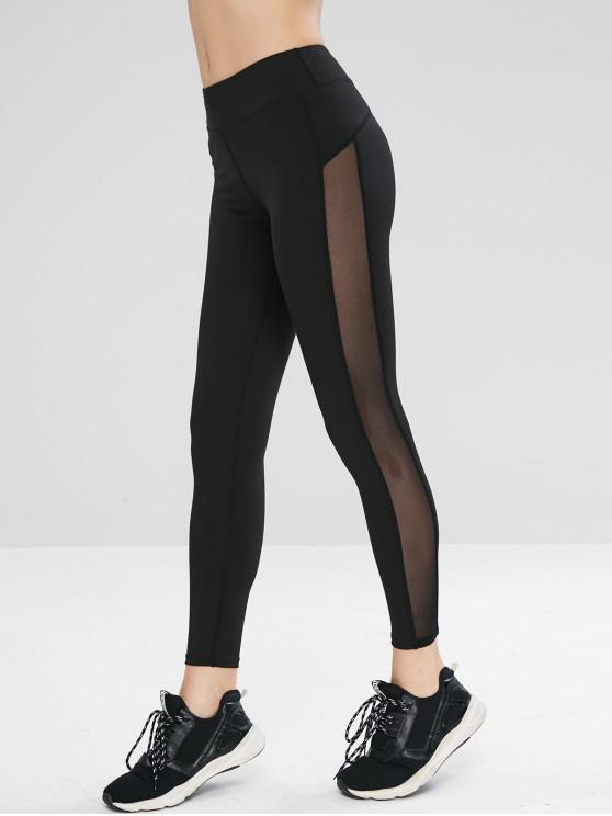 best Mesh Panel Workout Gym Yoga Leggings - BLACK M