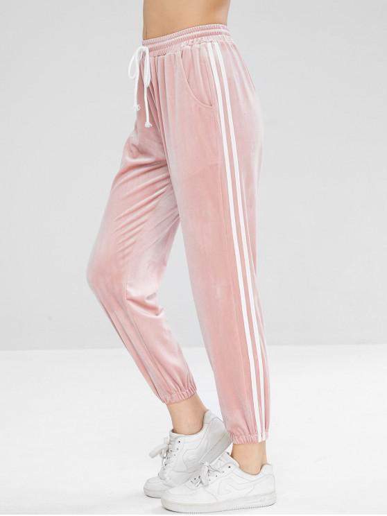 Calças de jogging de veludo lateral de contraste de veludo - Rosa Claro L