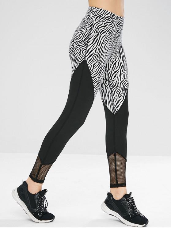 Leggings Sportivi Di Zebra Con Pannello A Rete - Nero M