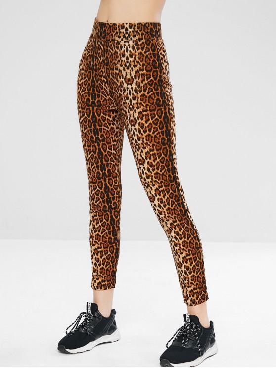 Leggings Sportivi Di Yoga A Vita Alta Con Stampa Leopardata - Leopardo L