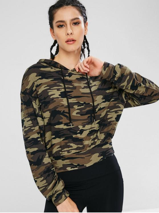 women Athletic Camo Drawstring Sport Hoodie - ACU CAMOUFLAGE L