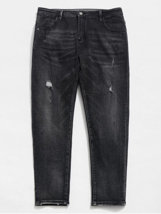 Gerade Beinreißverschluss Distressed Cuffed Jeans - Schwarz 38