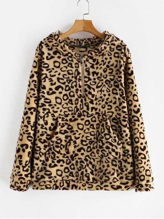 best ZAFUL Pouch Pocket Leopard Print Fleece Hoodie - LEOPARD M