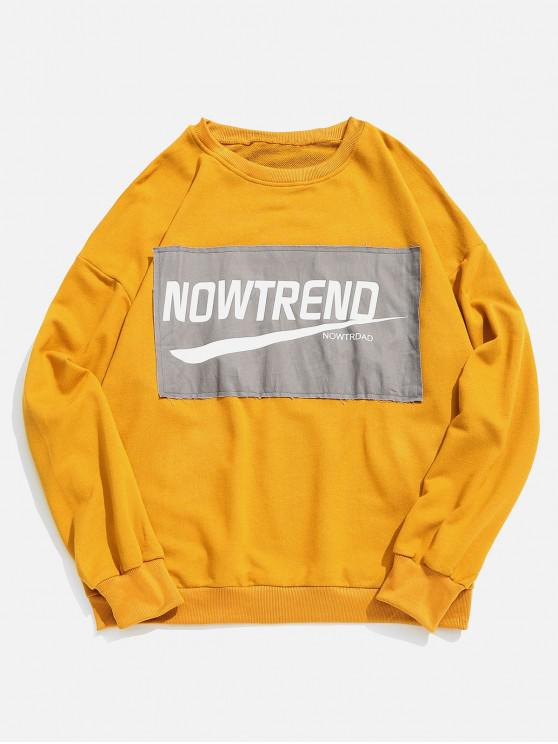 buy Chest Letter Patchwork Sweatshirt - YELLOW 2XL