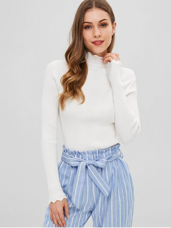 lady Scalloped High Neck Jumper Sweater - WHITE ONE SIZE