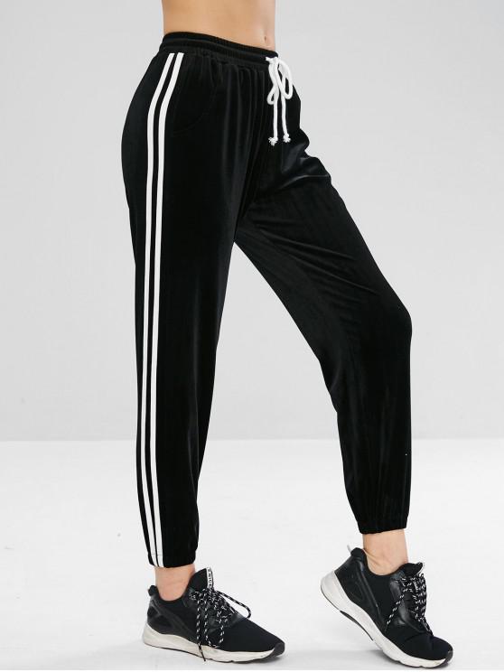 Calças de jogging de veludo lateral de contraste de veludo - Preto L