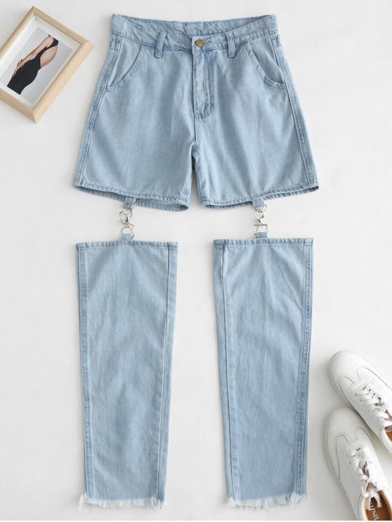affordable Frayed Hem Cut Out Jeans - JEANS BLUE L