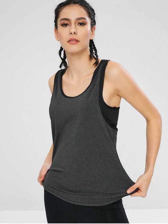 Camisola de alças acolchoada do Gym do esporte de Heathered - Cinzento M