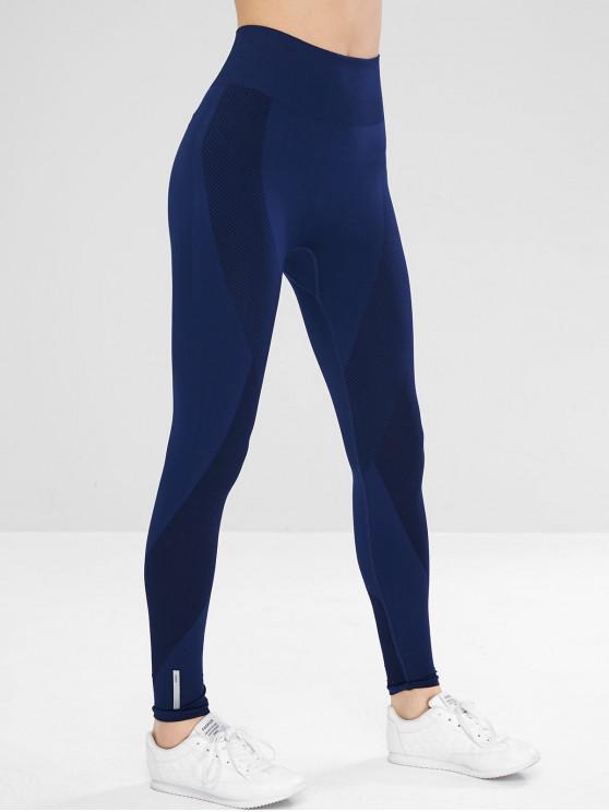 f92d8d24e6d45 28% OFF] 2019 Seamless High Rise Yoga Gym Leggings In BLUE | ZAFUL