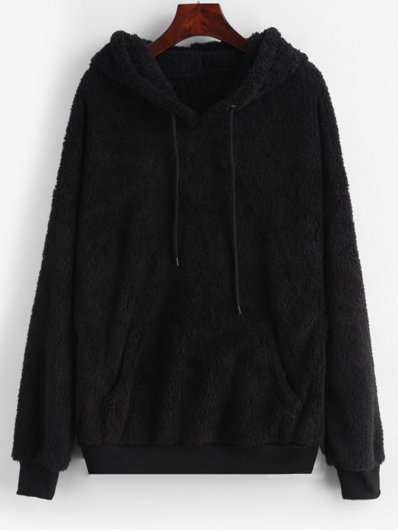 4501b59b0 24% OFF] 2019 Drawstring Fluffy Front Pocket Teddy Hoodie In BLACK ...