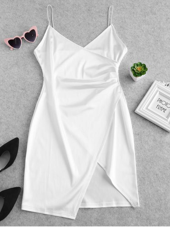 lady Cami Draped Crossover Slip Party Dress - WHITE M