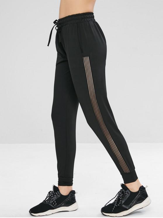 Pantalones deportivos de gimnasia con cordón - Negro L