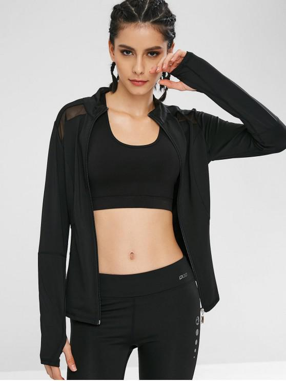 Zip Mesh Panel Sport Gym Jacket BLACK