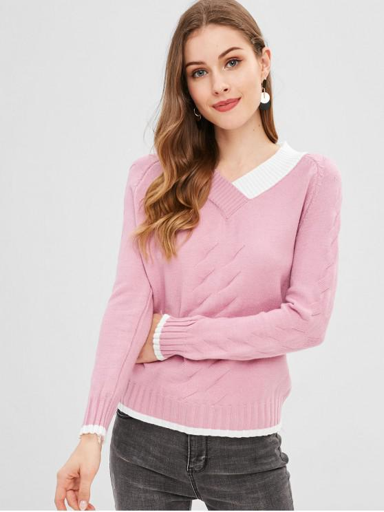 online Geometric Print V Neck Sweater - LIGHT PINK ONE SIZE