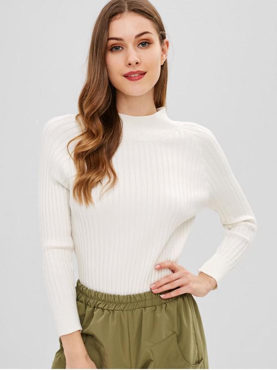 Raglanärmel-Pullover mit hohem Halsausschnitt - Weiß Eine Größe
