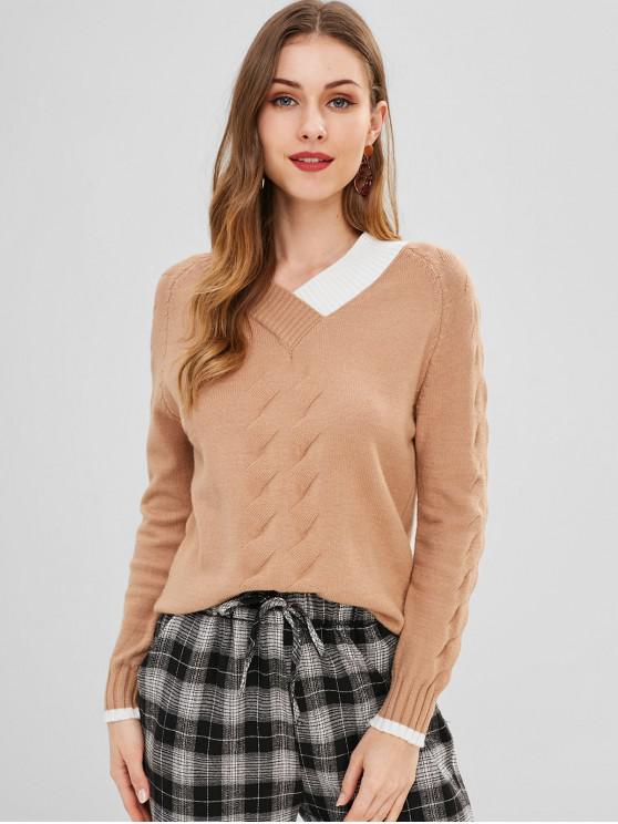 Suéter con cuello en V y estampado geométrico - Caqui Talla única
