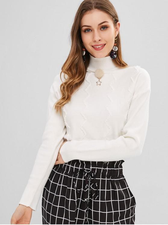 trendy Zigzag Pattern Mock Neck Sweater - WHITE ONE SIZE