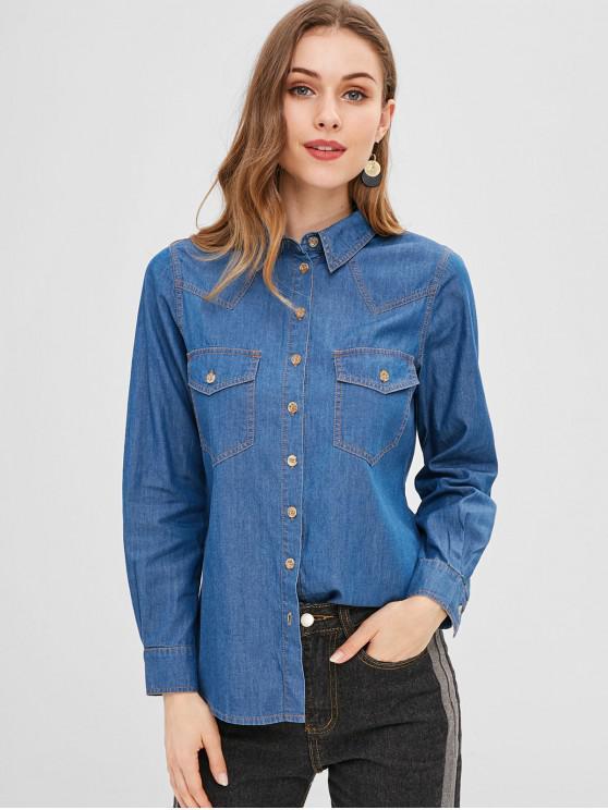 Chemise Boutonnée en Tissu Rayé avec Poche - Bleu Foncé Toile de Jean M