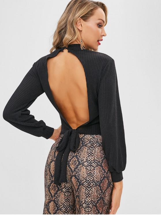 outfits Knotted Keyhole Open Back Knitwear - BLACK XL