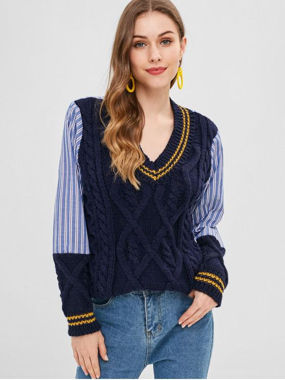 ladies Splicing Stripe Cable Knit Cricket Sweater - CADETBLUE ONE SIZE