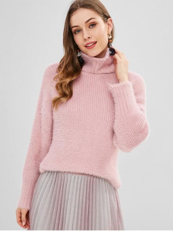 Rollkragenpullover Fuzzy Slit Knit Sweater - Rosa Eine Größe
