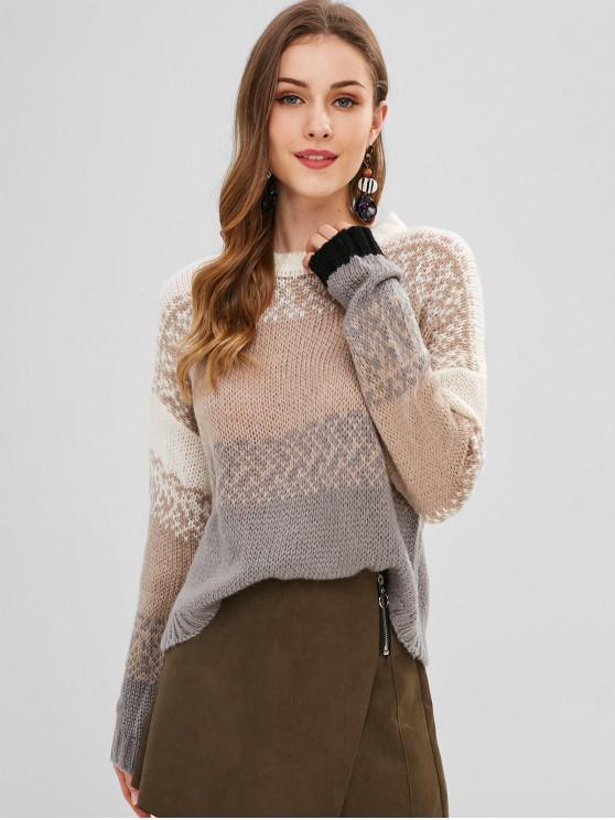 latest Loose Knit Boxy Sweater - MULTI ONE SIZE