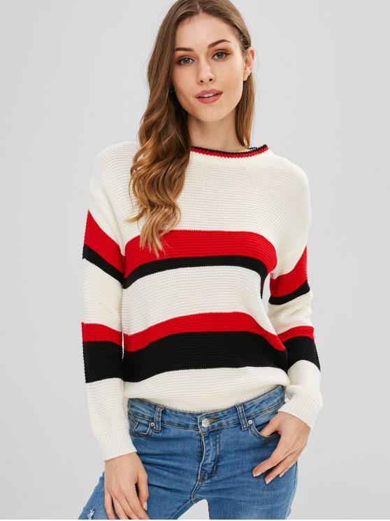 Dreifarbiger gestreifter Pullover - Multi Eine Größe