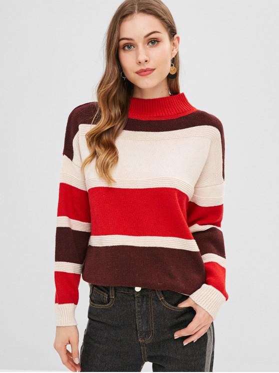 chic Drop Shoulder Colorful Sweater - MULTI ONE SIZE