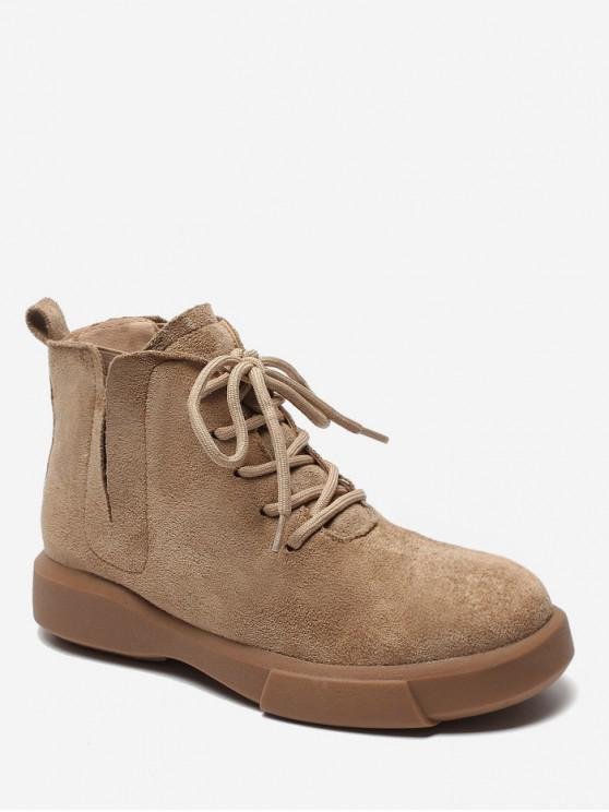 Notched Collar Lace Up Ankle Boots - مشمش الاتحاد الأوروبي 37