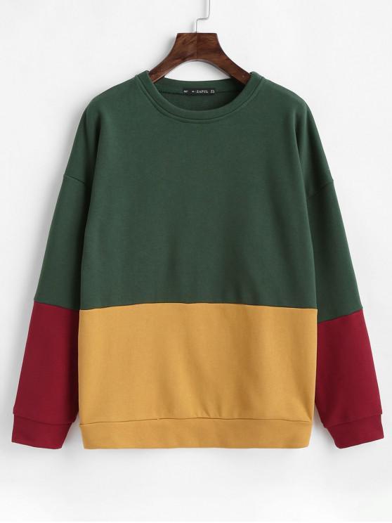 affordable ZAFUL Drop Shoulder Color Block Sweatshirt - MULTI S