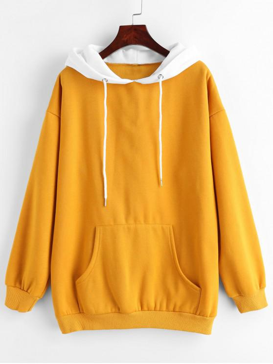 unique ZAFUL Two Tone Front Pocket Hoodie - BEE YELLOW S